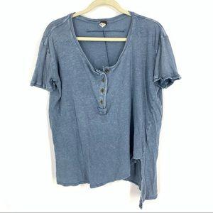 We The Free Linen Cotton Blend T-Shirt Blue Medium